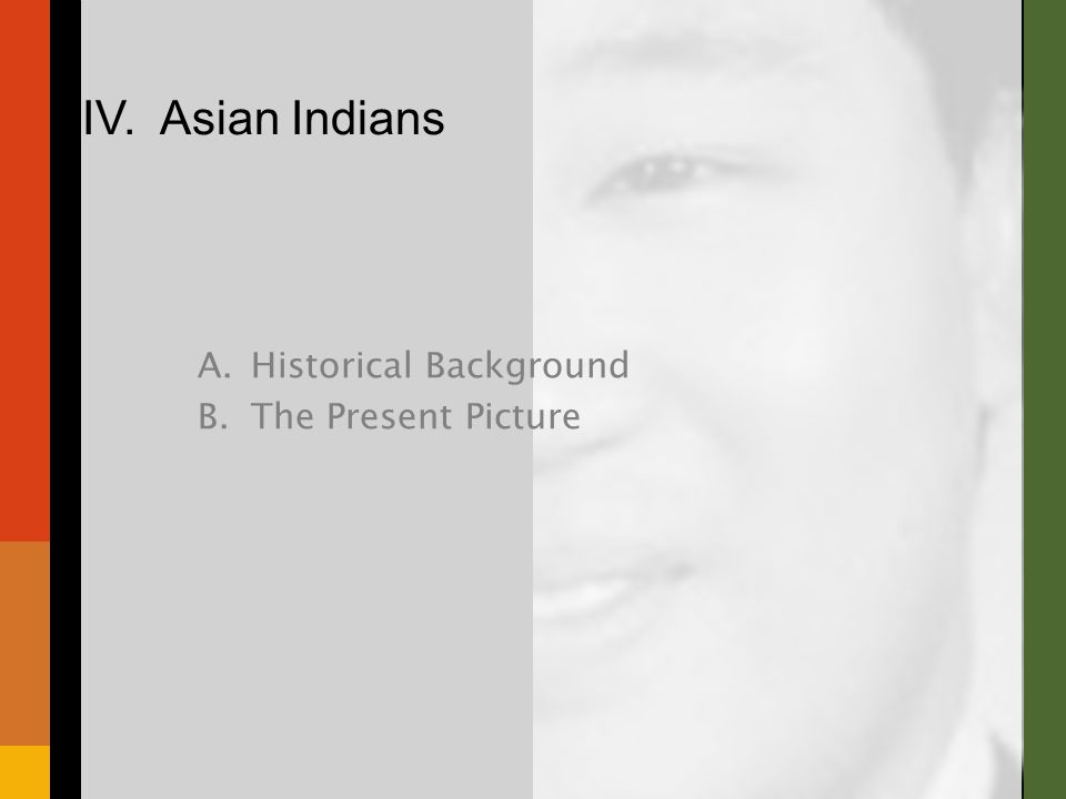 A.Historical Background B.The Present Picture IV. Asian Indians