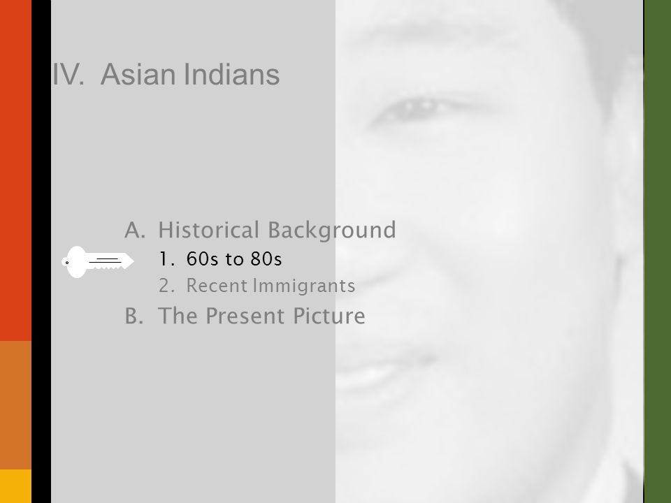 A.Historical Background 1.60s to 80s 2.Recent Immigrants B.The Present Picture IV. Asian Indians