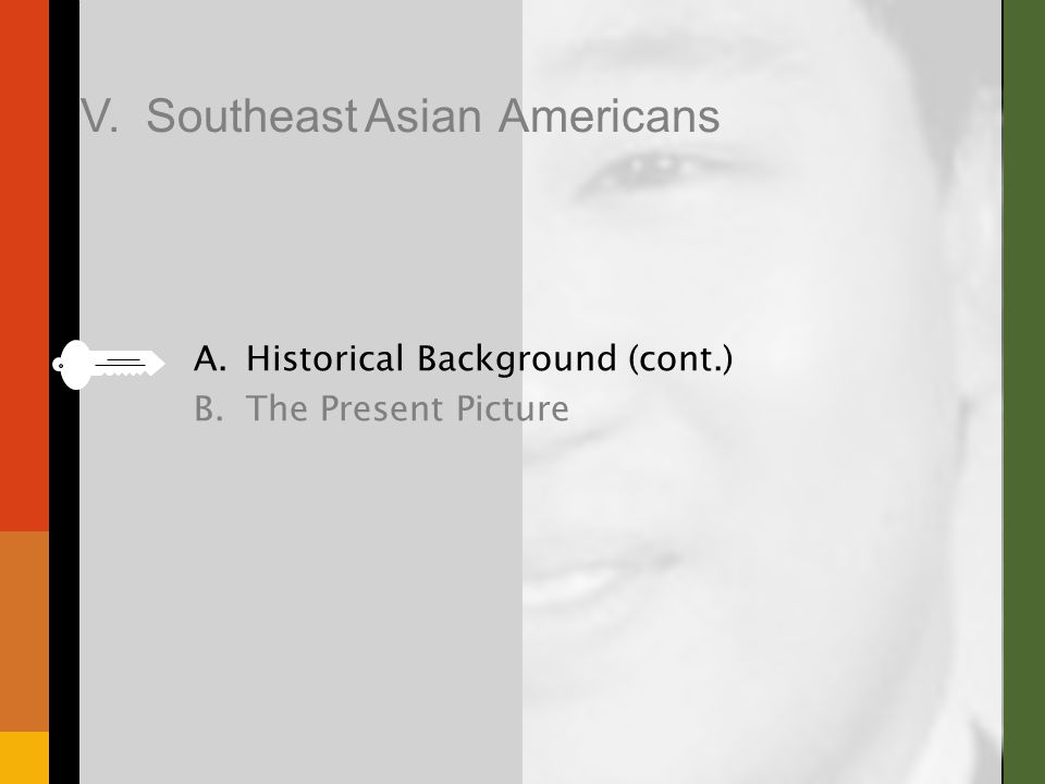 A.Historical Background (cont.) B.The Present Picture V. Southeast Asian Americans