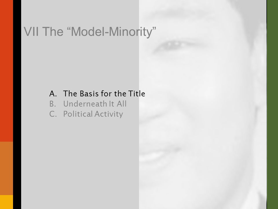 VII The Model-Minority A.The Basis for the Title B.Underneath It All C.Political Activity