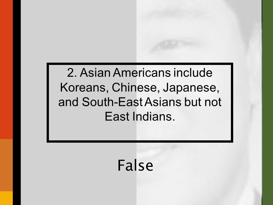 2. Asian Americans include Koreans, Chinese, Japanese, and South-East Asians but not East Indians.