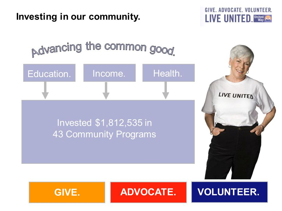 GIVE. ADVOCATE.VOLUNTEER. Education. Income. Health.