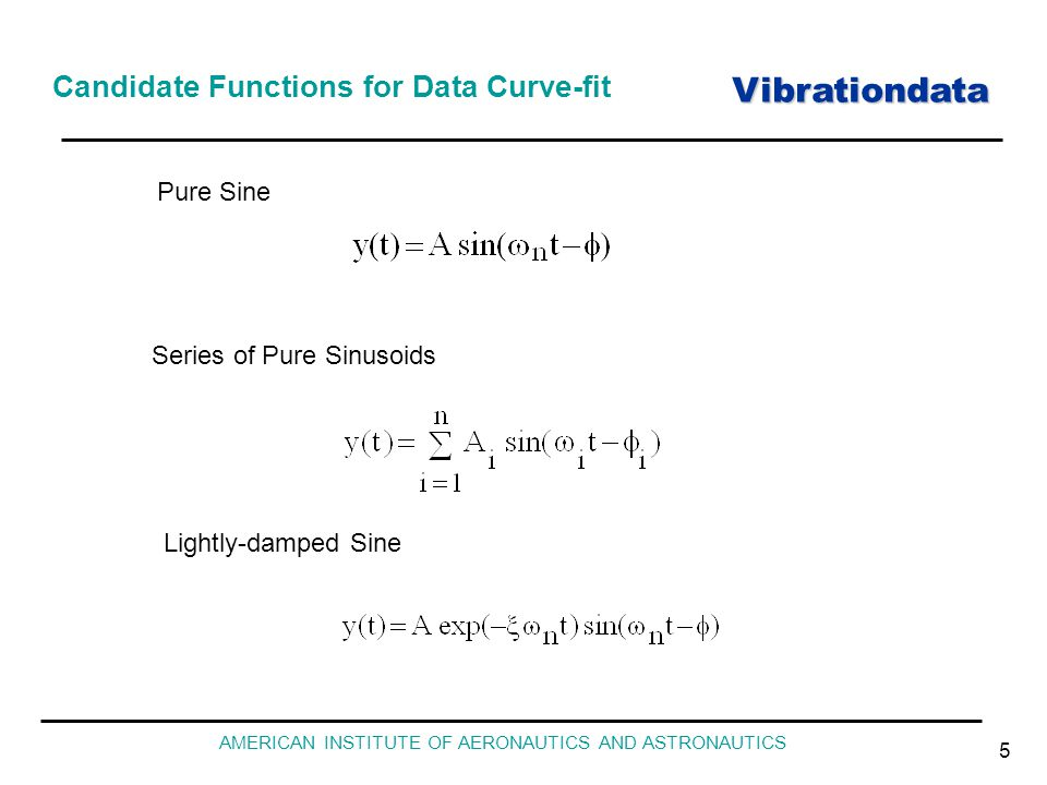 Vibrationdata AMERICAN INSTITUTE OF AERONAUTICS AND ASTRONAUTICS 5 Candidate Functions for Data Curve-fit Pure Sine Series of Pure Sinusoids Lightly-d