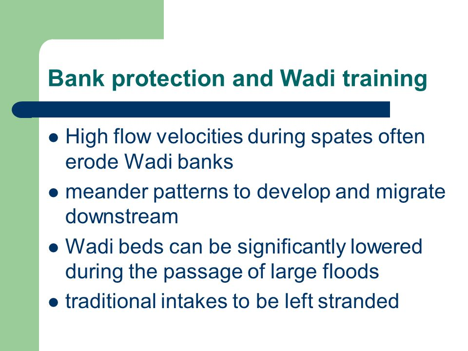 Bank protection and Wadi training High flow velocities during spates often erode Wadi banks meander patterns to develop and migrate downstream Wadi beds can be significantly lowered during the passage of large floods traditional intakes to be left stranded