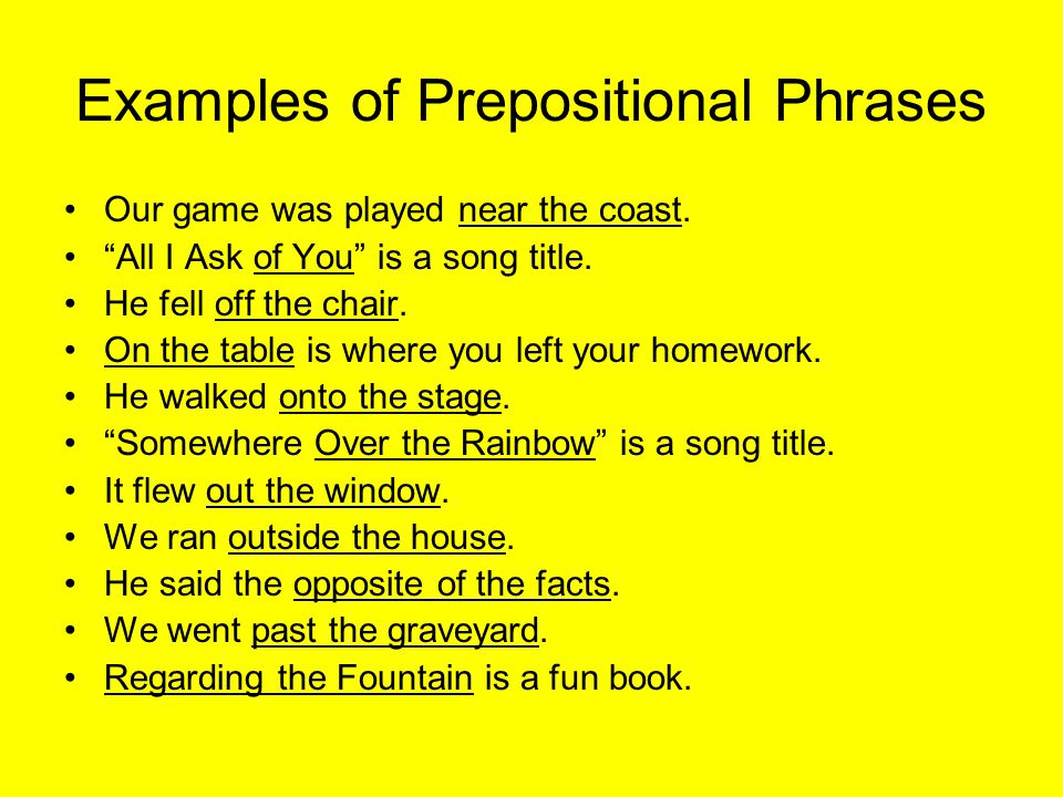Examples of Prepositional Phrases Our game was played near the coast.