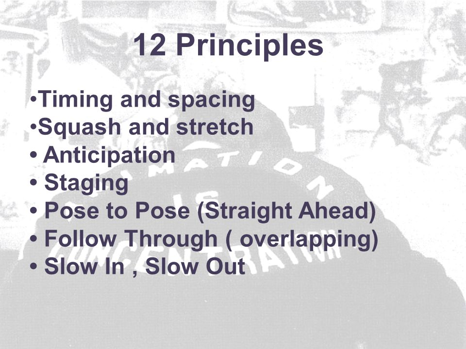 Timing and spacing Squash and stretch Anticipation Staging Pose to Pose (Straight Ahead) Follow Through ( overlapping) Slow In, Slow Out 12 Principles