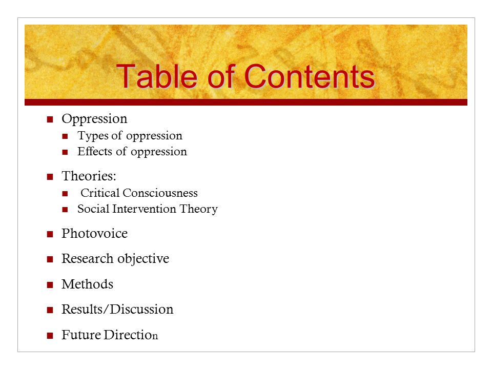 Table of Contents Oppression Types of oppression Effects of oppression Theories: Critical Consciousness Social Intervention Theory Photovoice Research objective Methods Results/Discussion Future Directio n