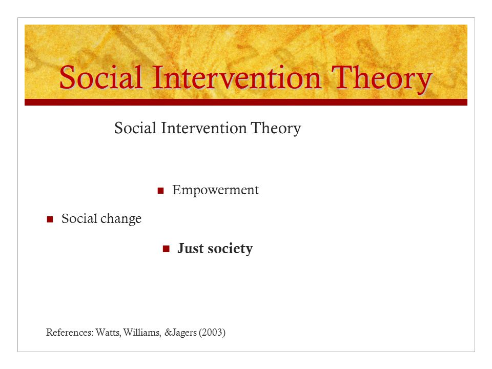 Social Intervention Theory Empowerment Social change Just society References: Watts, Williams, &Jagers (2003)