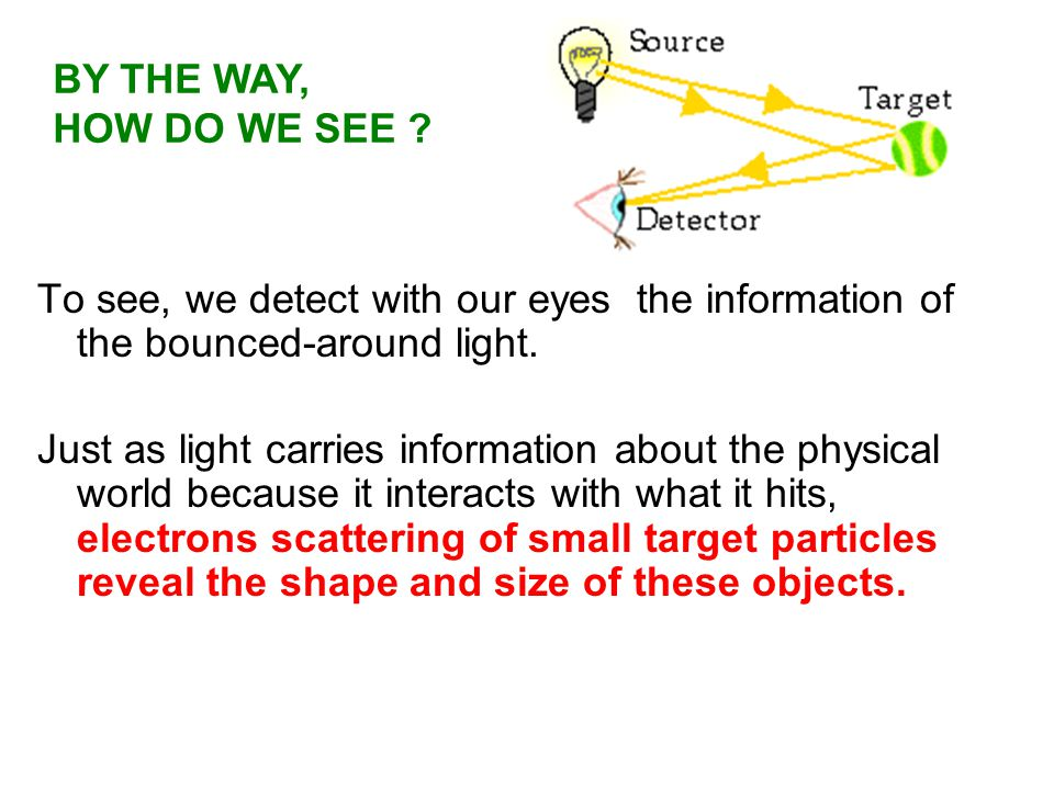 To see, we detect with our eyes the information of the bounced-around light. BY THE WAY, HOW DO WE SEE ? Just as light carries information about the p