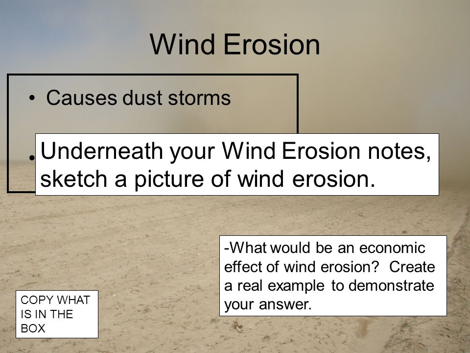 Wind Erosion Causes dust storms Harms crops -What would be an economic effect of wind erosion.