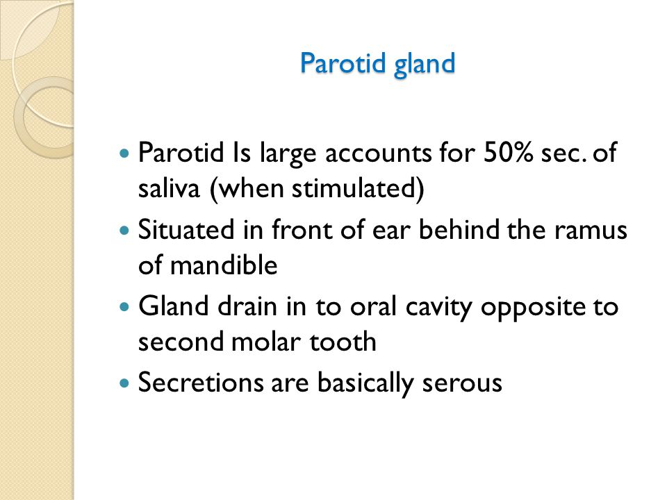 Parotid gland Parotid Is large accounts for 50% sec.