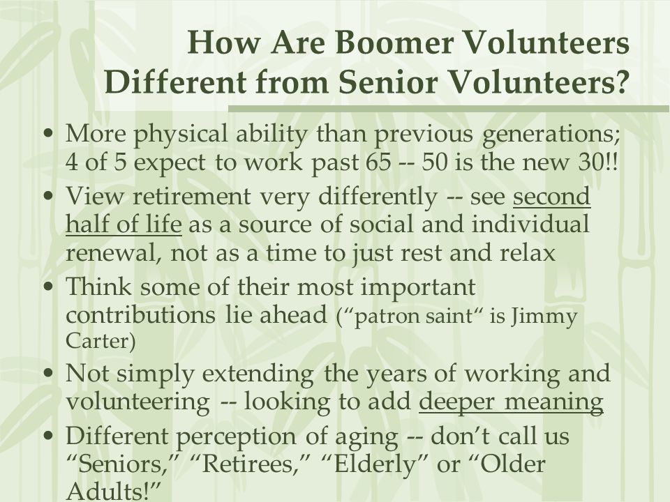 How Are Boomer Volunteers Different from Senior Volunteers.