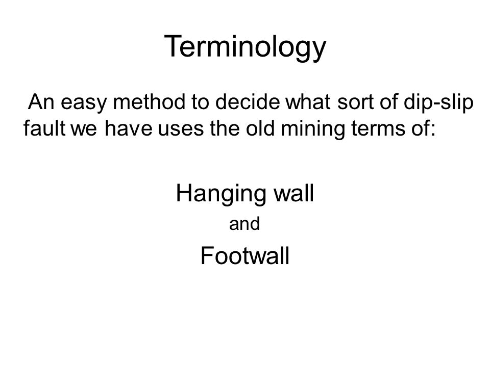 Terminology An easy method to decide what sort of dip-slip fault we have uses the old mining terms of: Hanging wall and Footwall
