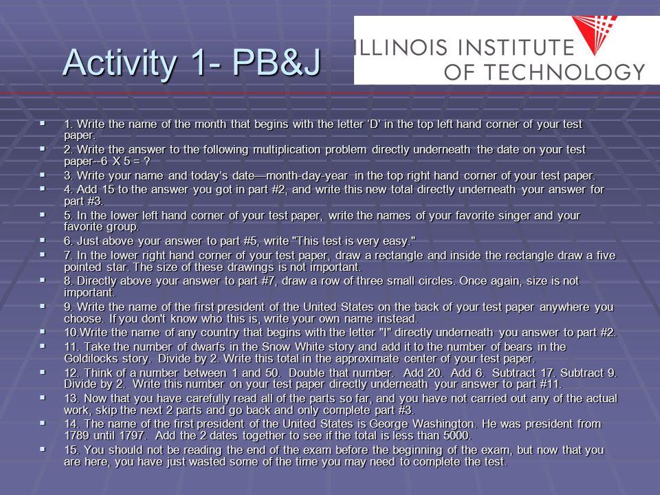 Activity 1- PB&J  1.