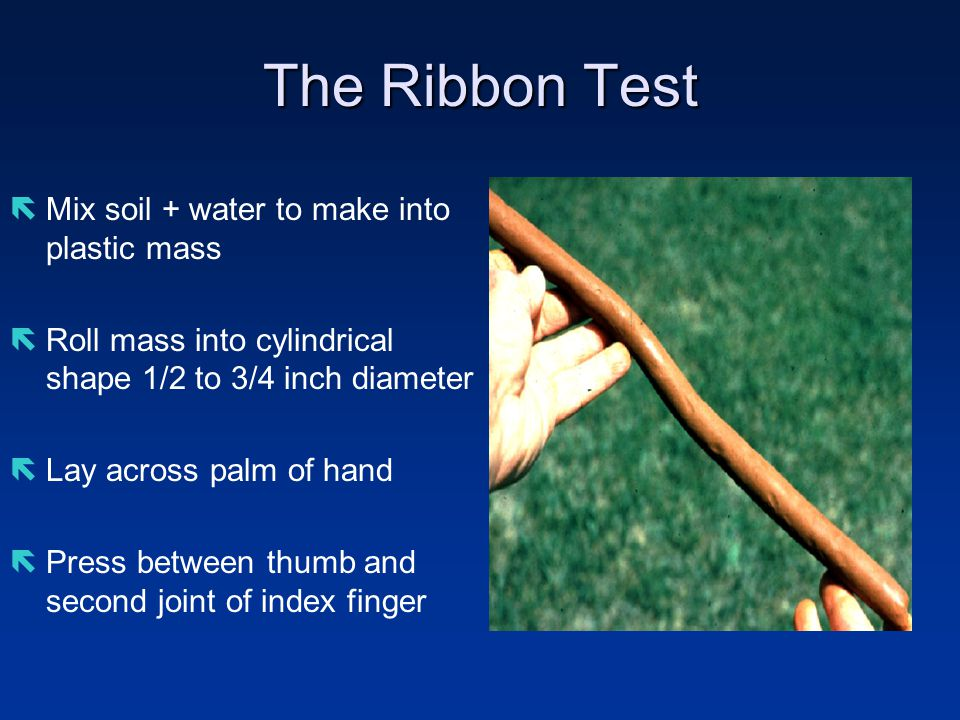 The Ribbon Test ëMix soil + water to make into plastic mass ëRoll mass into cylindrical shape 1/2 to 3/4 inch diameter ëLay across palm of hand ëPress