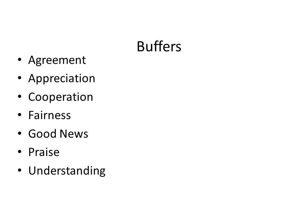 Buffers Agreement Appreciation Cooperation Fairness Good News Praise Understanding