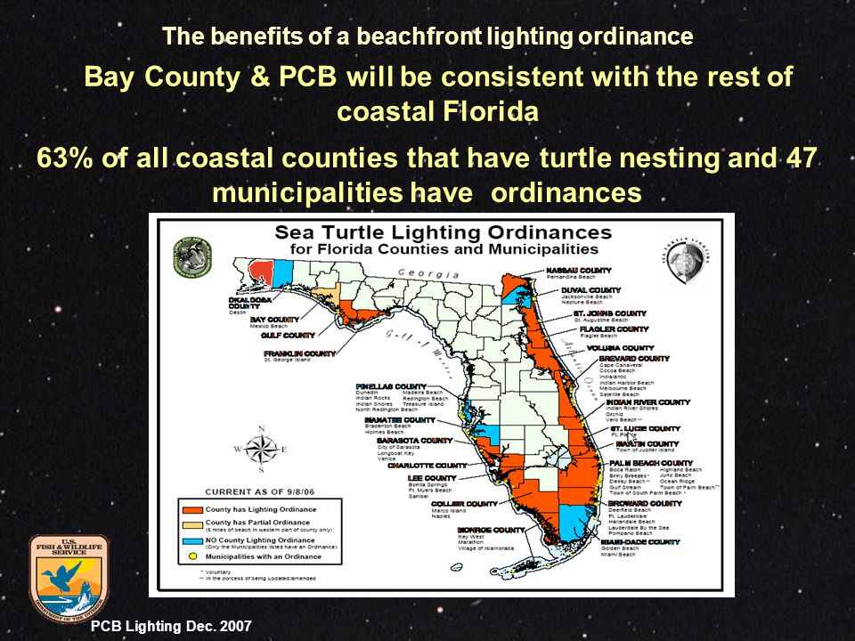 PCB Lighting Dec. 2007 Bay County & PCB will be consistent with the rest of coastal Florida 63% of all coastal counties that have turtle nesting and 4