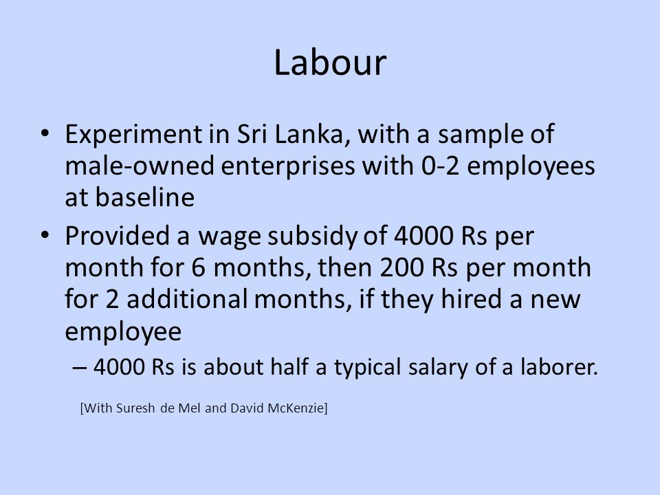 Labour Experiment in Sri Lanka, with a sample of male-owned enterprises with 0-2 employees at baseline Provided a wage subsidy of 4000 Rs per month for 6 months, then 200 Rs per month for 2 additional months, if they hired a new employee – 4000 Rs is about half a typical salary of a laborer.