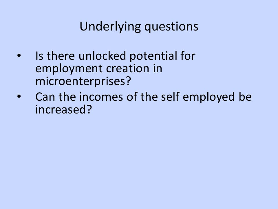 Underlying questions Is there unlocked potential for employment creation in microenterprises.