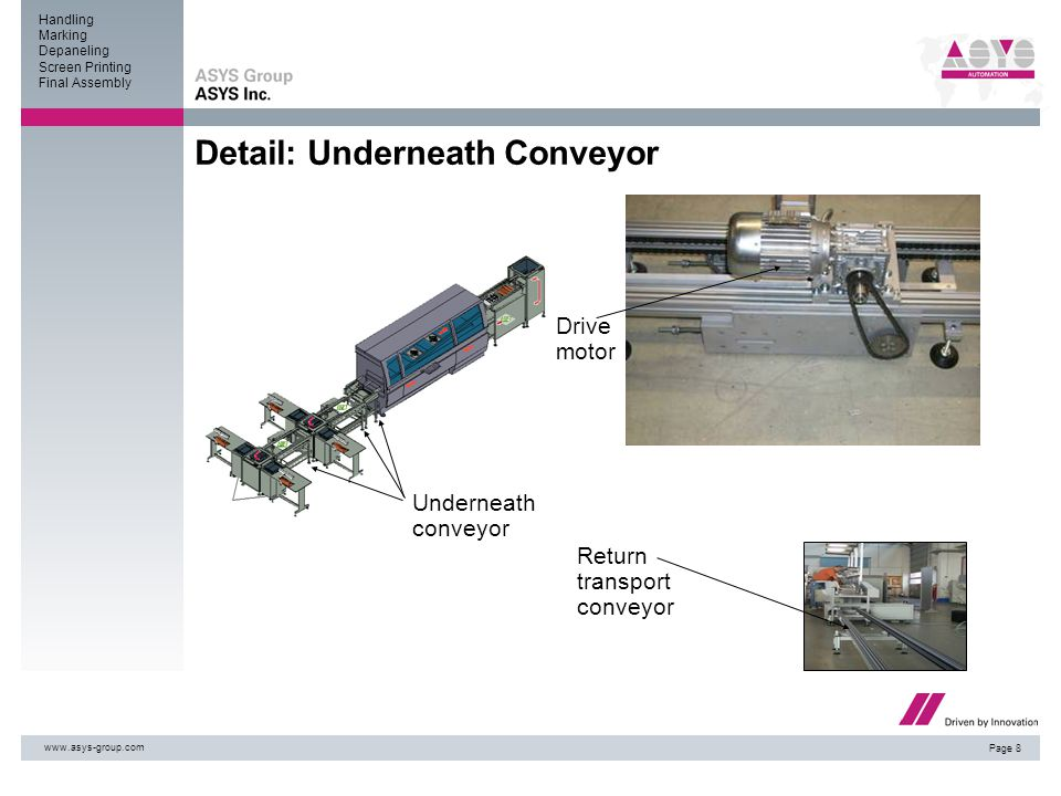 Handling Marking Depaneling Screen Printing Final Assembly www.asys-group.com Page 8 Detail: Underneath Conveyor Underneath conveyor Return transport