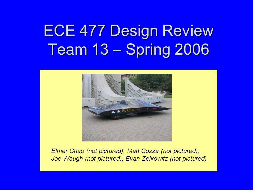 ECE 477 Design Review Team 13  Spring 2006 Elmer Chao (not pictured), Matt Cozza (not pictured), Joe Waugh (not pictured), Evan Zelkowitz (not pictured)
