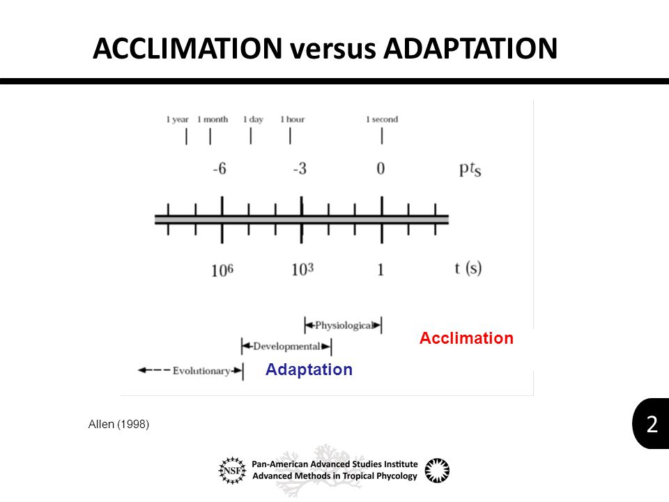 2 ACCLIMATION versus ADAPTATION Allen (1998) Acclimation Adaptation