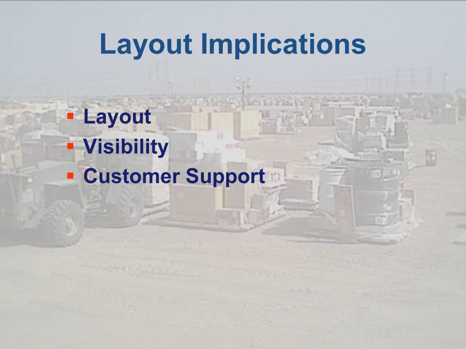 Layout Implications  Layout  Visibility  Customer Support