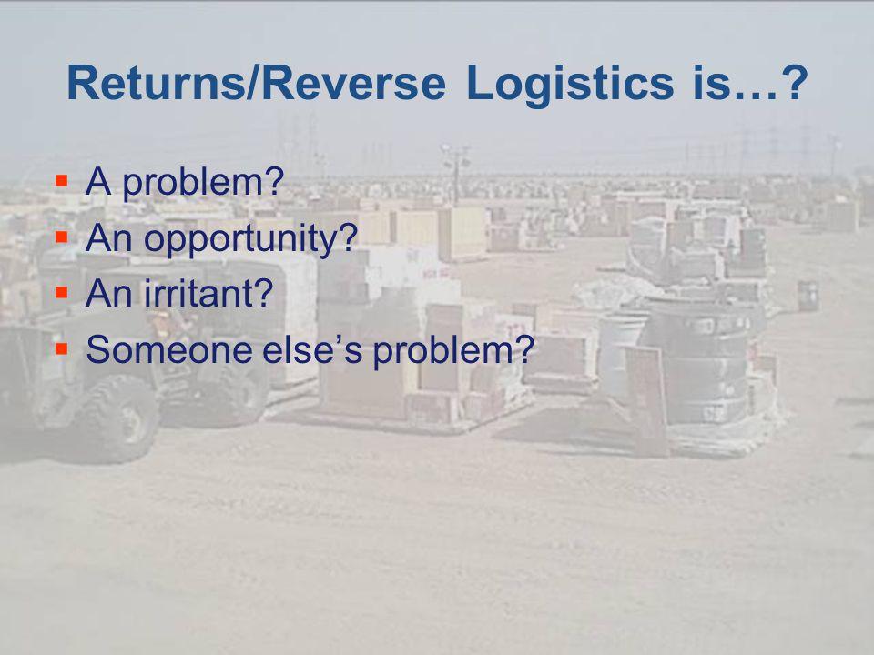 Returns/Reverse Logistics is….  A problem.  An opportunity.