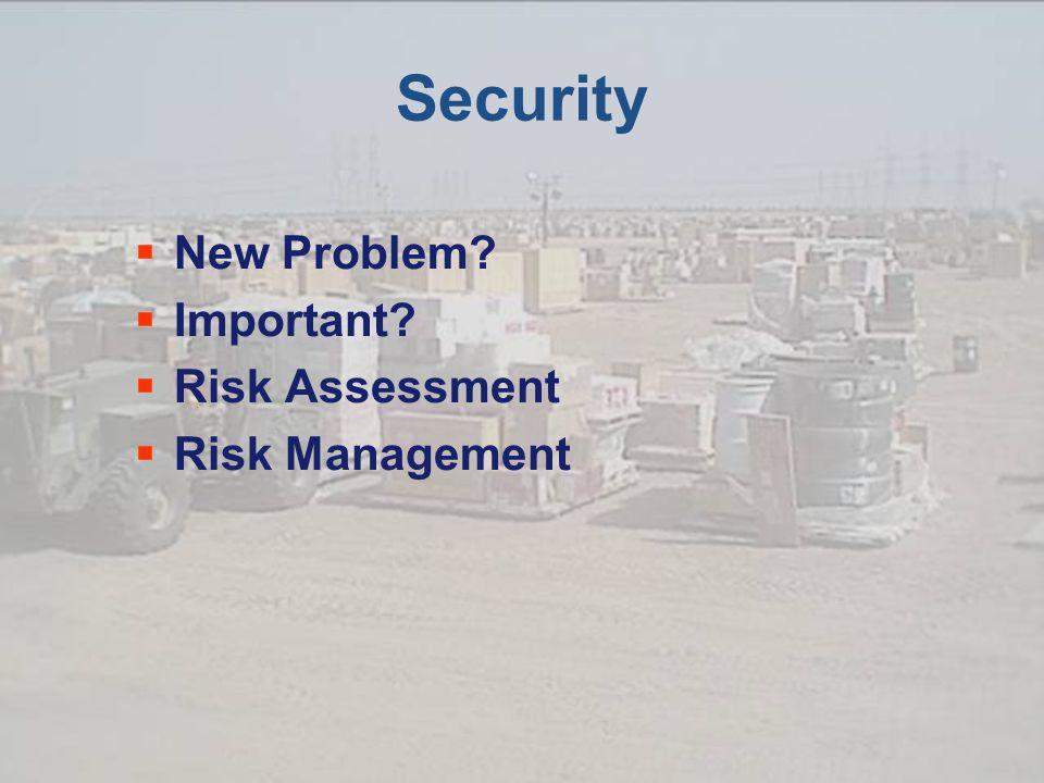 Security  New Problem  Important  Risk Assessment  Risk Management