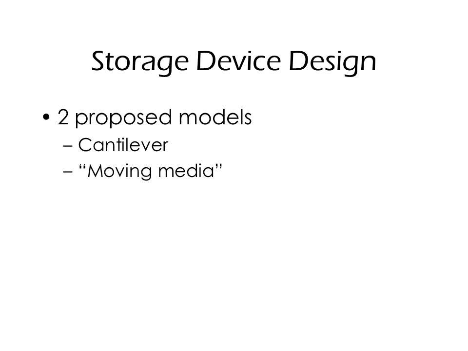 "Storage Device Design 2 proposed models –Cantilever –""Moving media"""