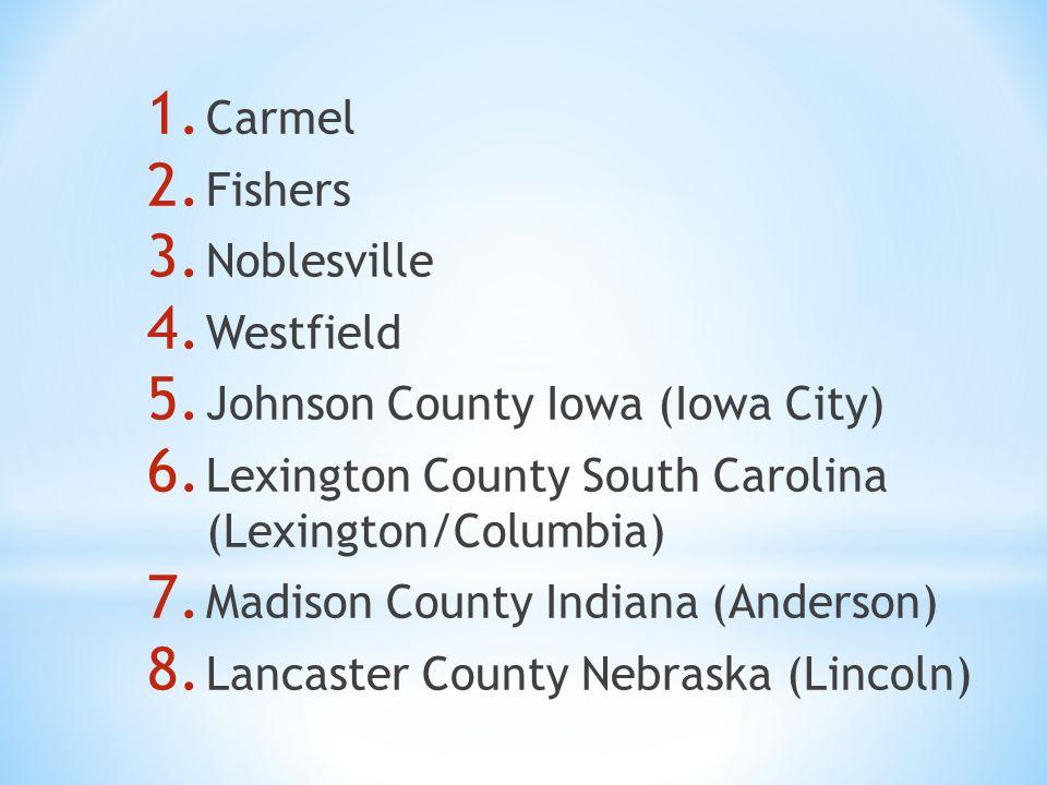 1. Carmel 2. Fishers 3. Noblesville 4. Westfield 5. Johnson County Iowa (Iowa City) 6. Lexington County South Carolina (Lexington/Columbia) 7. Madison