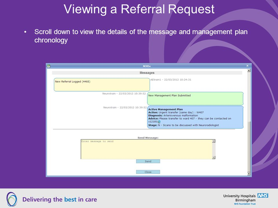 Viewing a Referral Request Scroll down to view the details of the message and management plan chronology