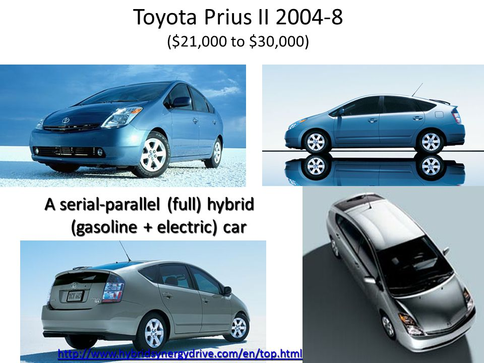 Toyota Prius II 2004-8 ($21,000 to $30,000) A serial-parallel (full) hybrid (gasoline + electric) car http://www.hybridsynergydrive.com/en/top.html