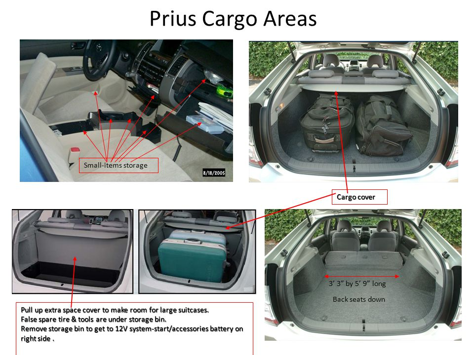Prius Cargo Areas Small-items storage Back seats down Pull up extra space cover to make room for large suitcases.