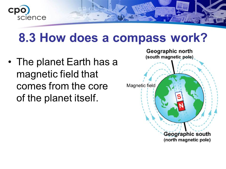 8.3 How does a compass work? The planet Earth has a magnetic field that comes from the core of the planet itself.