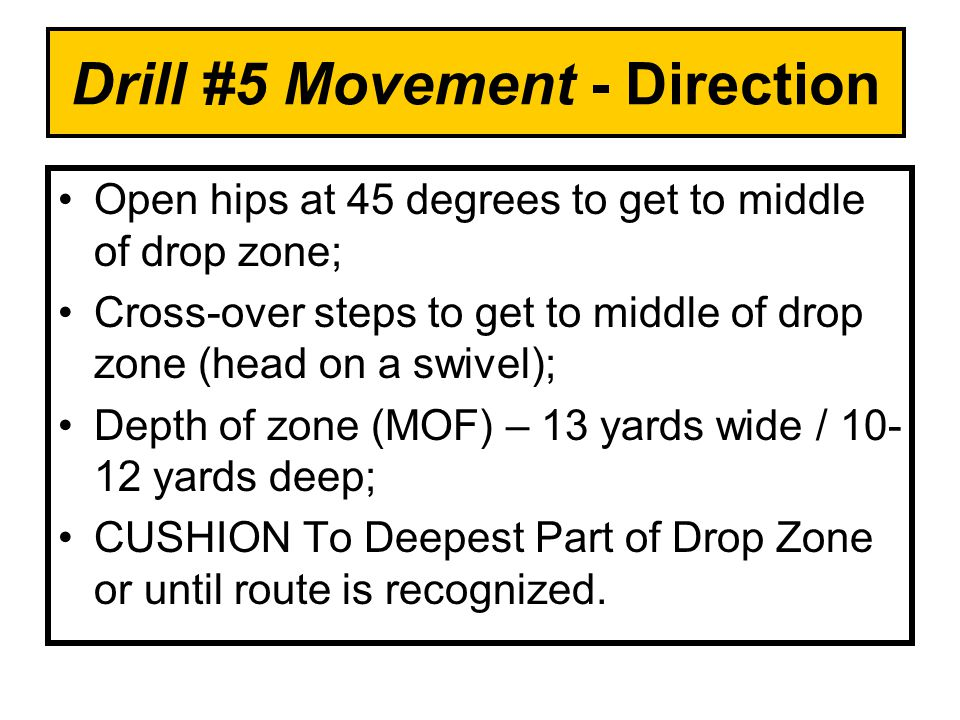 Drill #5 Movement - Direction Open hips at 45 degrees to get to middle of drop zone; Cross-over steps to get to middle of drop zone (head on a swivel); Depth of zone (MOF) – 13 yards wide / 10- 12 yards deep; CUSHION To Deepest Part of Drop Zone or until route is recognized.