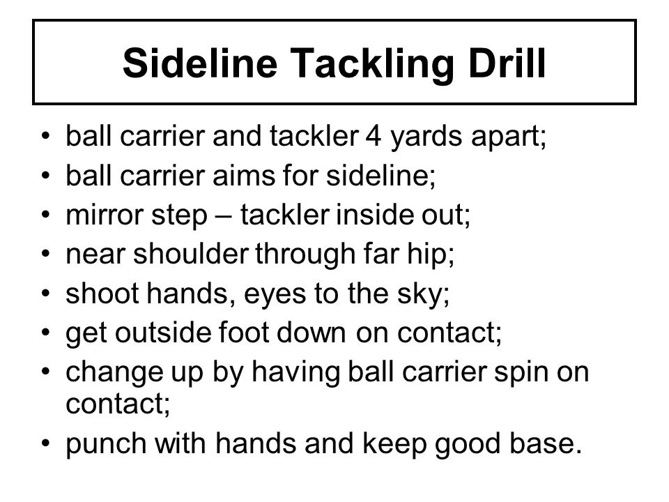 Sideline Tackling Drill ball carrier and tackler 4 yards apart; ball carrier aims for sideline; mirror step – tackler inside out; near shoulder through far hip; shoot hands, eyes to the sky; get outside foot down on contact; change up by having ball carrier spin on contact; punch with hands and keep good base.