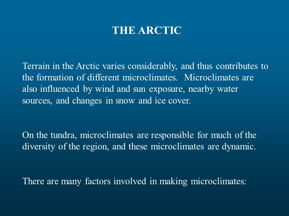 THE ARCTIC Terrain in the Arctic varies considerably, and thus contributes to the formation of different microclimates.
