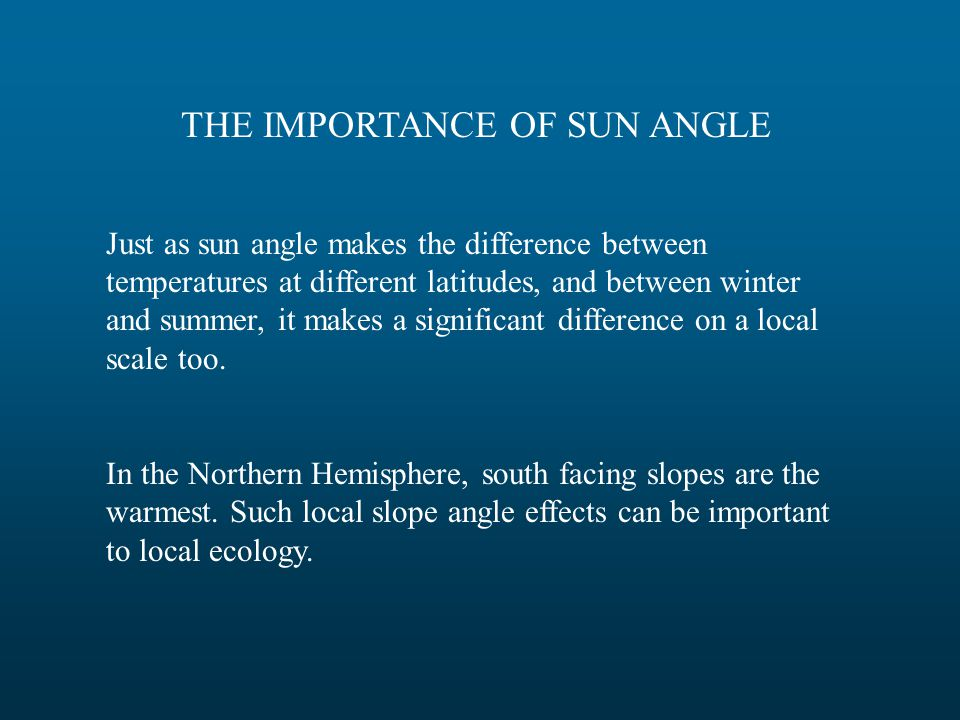 THE IMPORTANCE OF SUN ANGLE Just as sun angle makes the difference between temperatures at different latitudes, and between winter and summer, it make