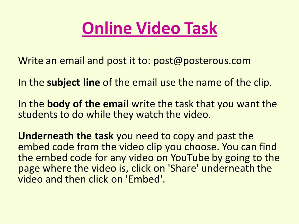 Write an email and post it to: post@posterous.com In the subject line of the email use the name of the clip.