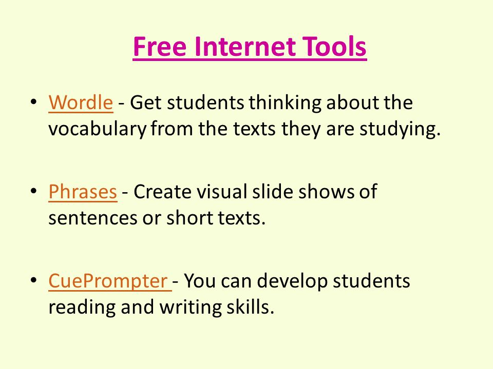 Free Internet Tools Wordle - Get students thinking about the vocabulary from the texts they are studying.