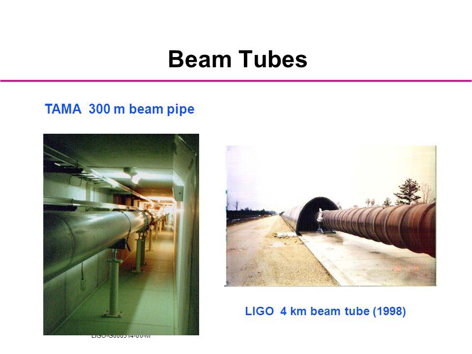 LIGO-G000314-00-M Beam Tubes LIGO 4 km beam tube (1998) TAMA 300 m beam pipe
