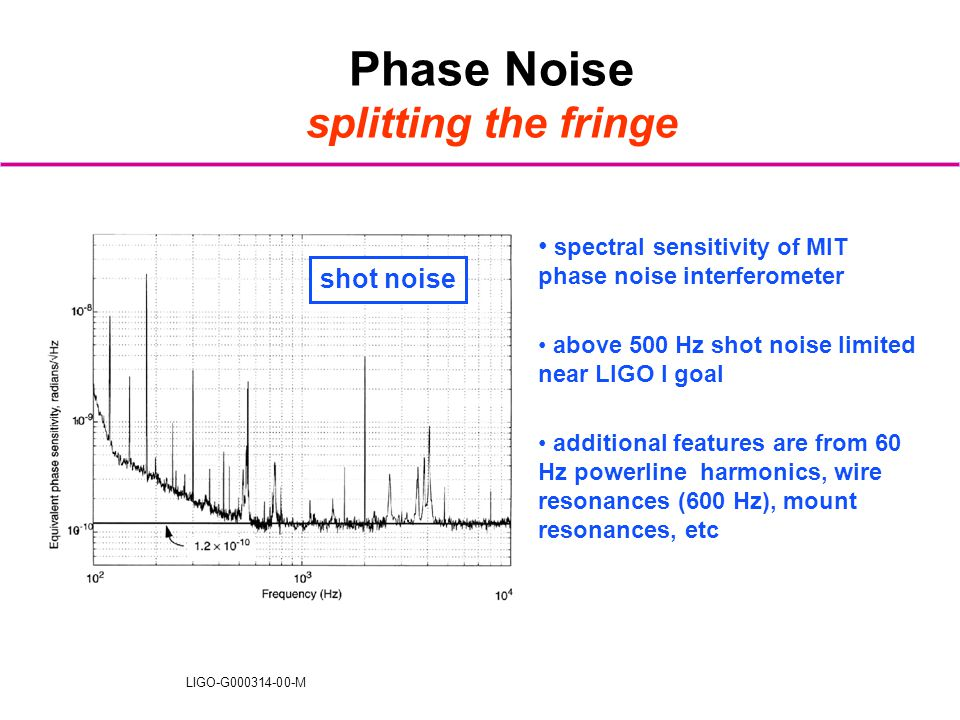 LIGO-G000314-00-M Phase Noise splitting the fringe spectral sensitivity of MIT phase noise interferometer above 500 Hz shot noise limited near LIGO I