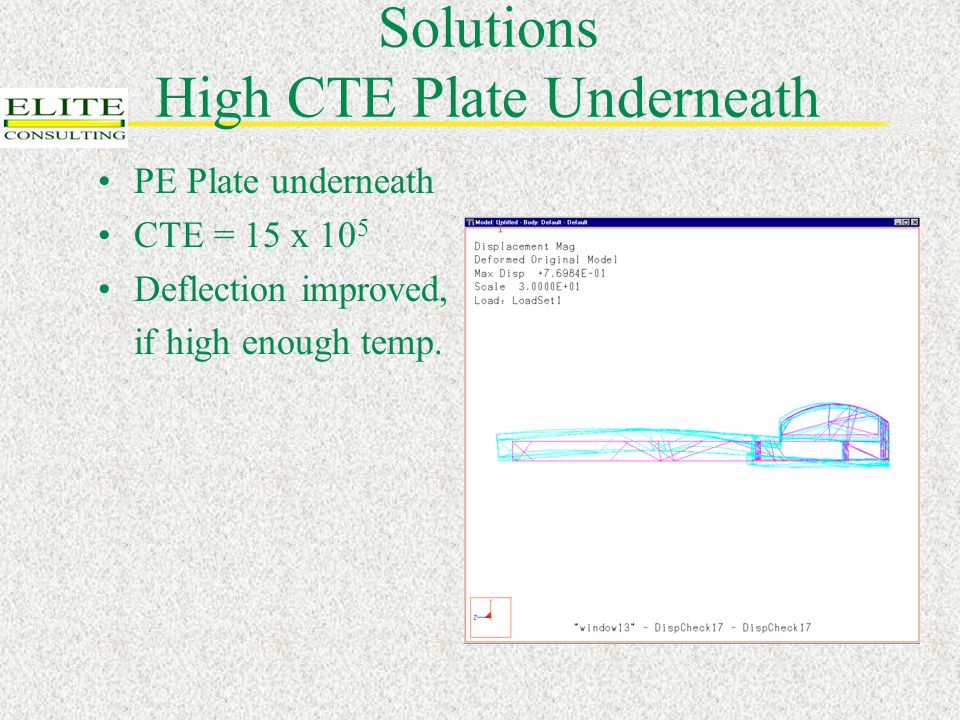 Solutions High CTE Plate Underneath PE Plate underneath CTE = 15 x 10 5 Deflection improved, if high enough temp.