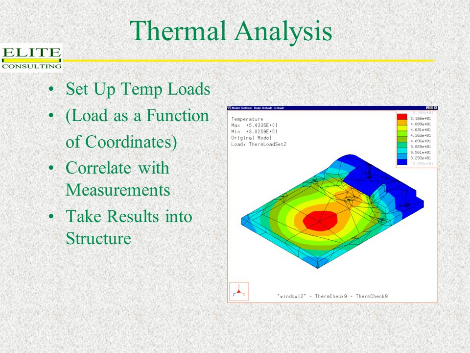 Thermal Analysis Set Up Temp Loads (Load as a Function of Coordinates) Correlate with Measurements Take Results into Structure