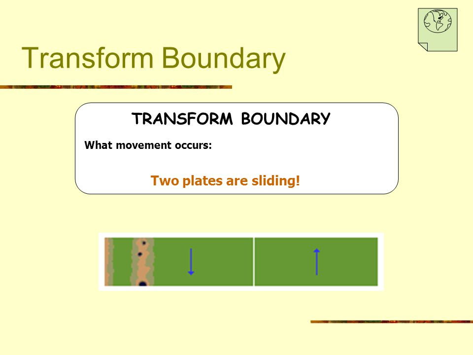 Transform Boundary TRANSFORM BOUNDARY What movement occurs: Two plates are sliding!