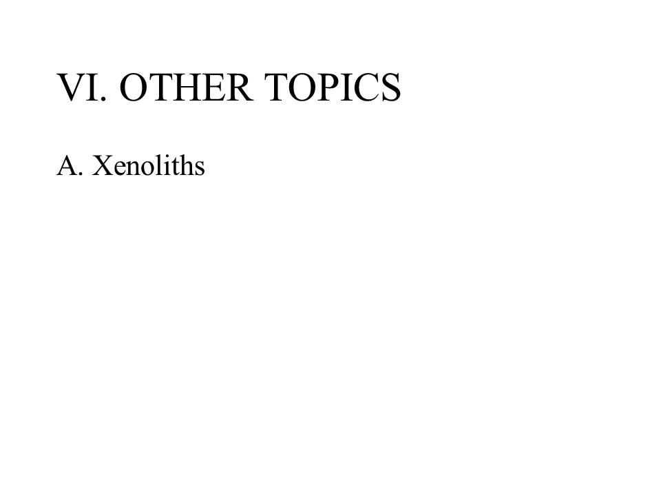 VI. OTHER TOPICS A. Xenoliths
