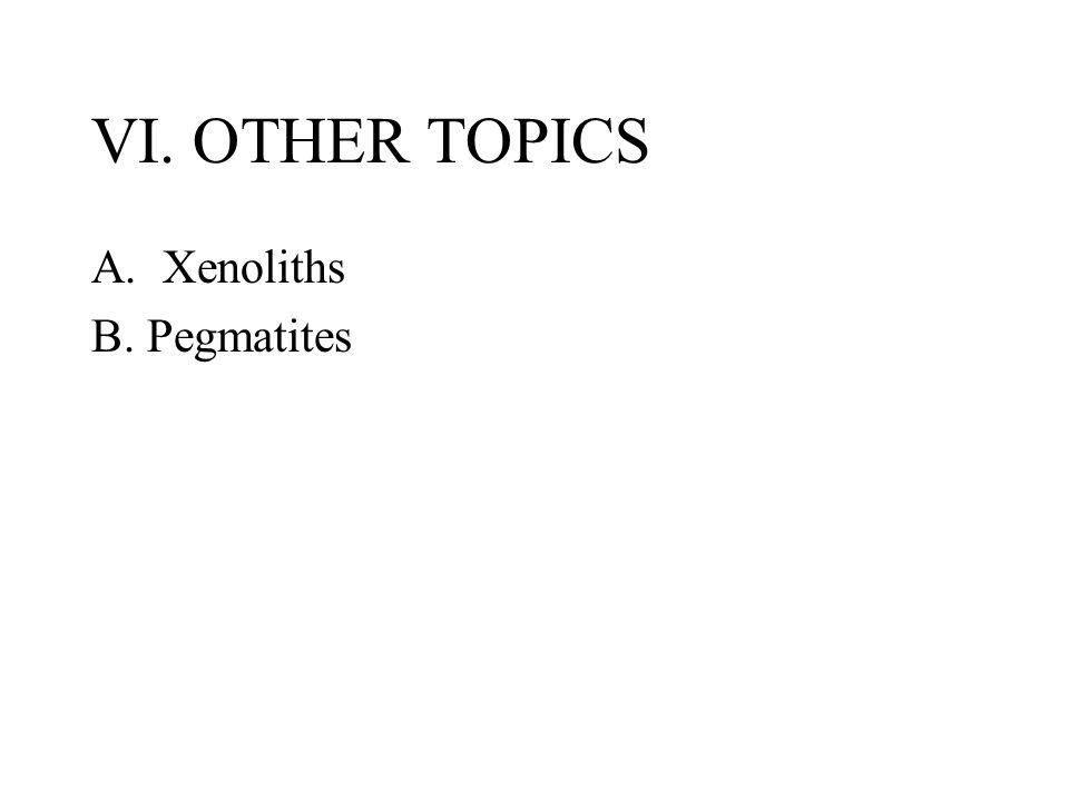 VI. OTHER TOPICS A.Xenoliths B. Pegmatites