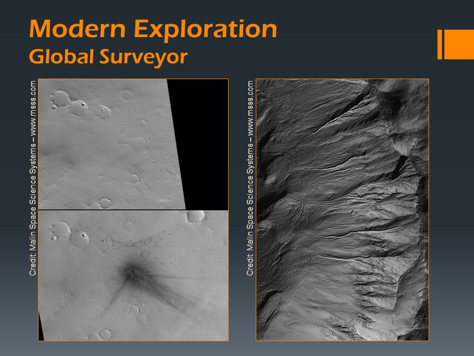 Modern Exploration Global Surveyor Credit: Malin Space Science Systems – www.msss.com