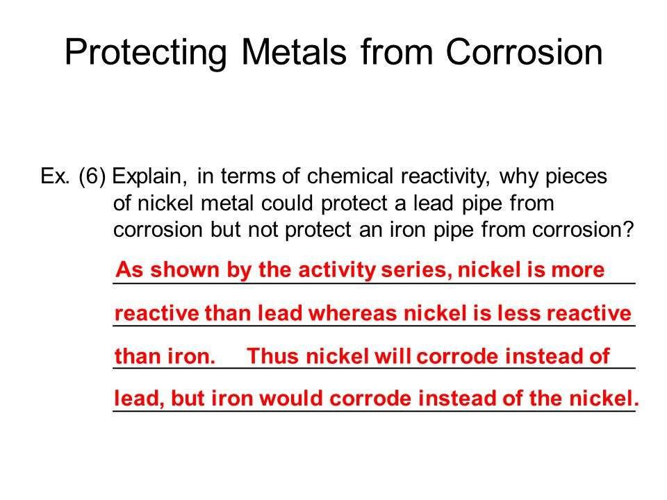 Ex. (6) Explain, in terms of chemical reactivity, why pieces of nickel metal could protect a lead pipe from corrosion but not protect an iron pipe fro